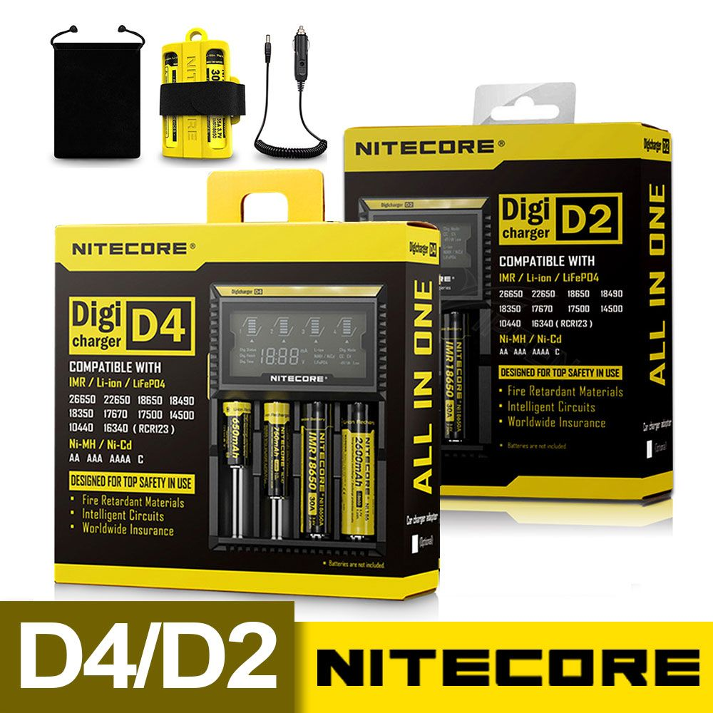 Original Nitecore D4 D2 Digicharger LCD Intelligent Circuitry Global Insurance li-ion 18650 14500 16340 26650 Battery Charger