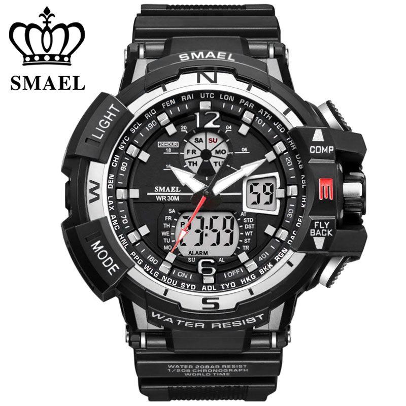 SMAEL marque montre de sport hommes nouvelle mode étanche horloge militaire choc hommes de luxe analogique Quartz double affichage montres