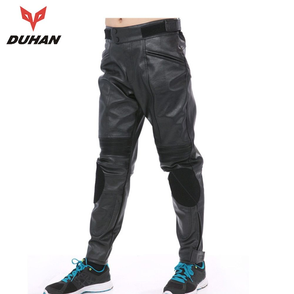 DUHAN Windproof Motorcycle Touring Pants Protective Elastic Racing Trousers Sports Motorcycle Pants Men PU Leather Moto Pants