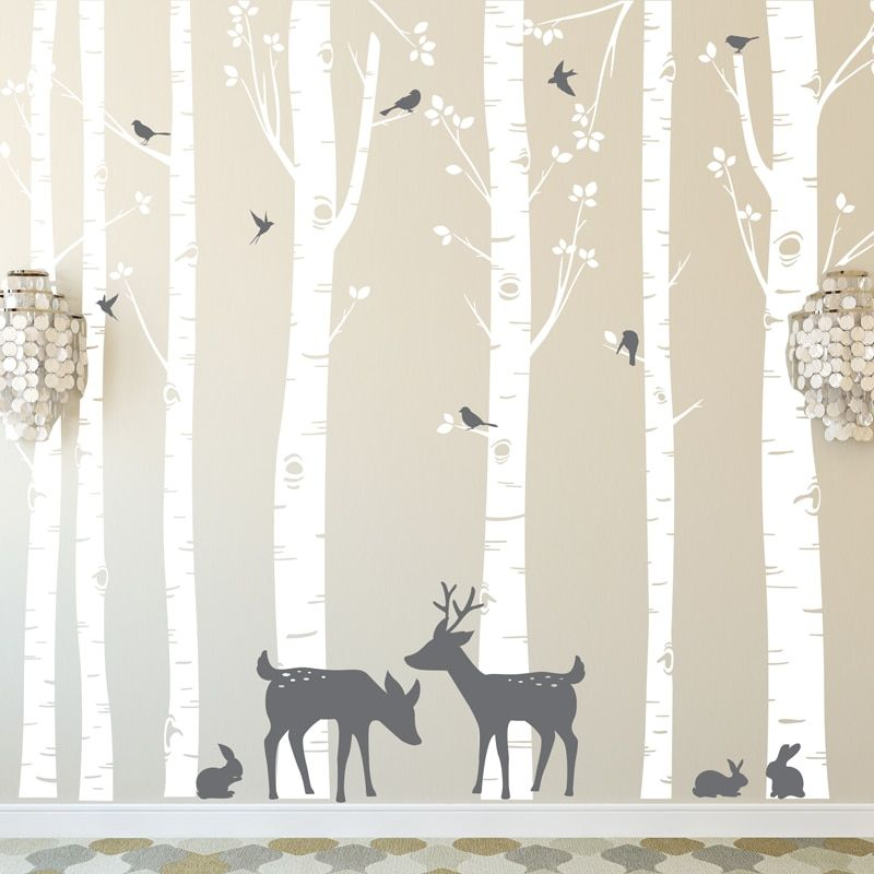 Huge Size Trees Wall Stickers Set of 7 Birch Trees with Deer and Birds in 2 Colors Removable Vinyl Wall Decals tree Decor ZA316