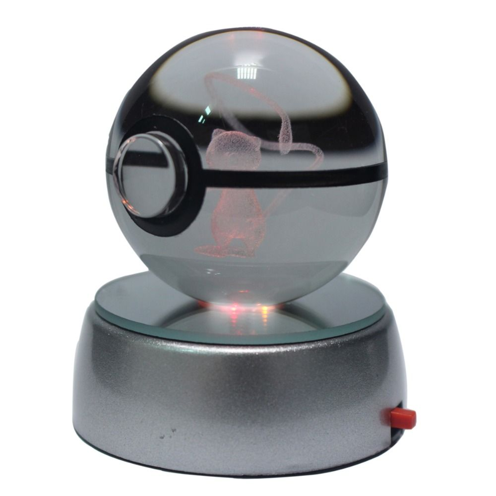 50MM 3D Pokemon Go Crystal Ball Button Cell Powered LED Night Light Magic Ball for Children Christmas Gifts
