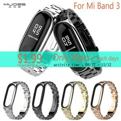 Original Mijobs Metal Strap For Xiaomi Mi Band 3 Straps Metal Screwless Stainless Steel Bracelet For Mi Band 3 Metal Strap Plus
