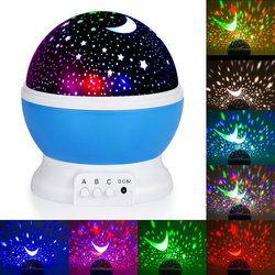 Proyector de la estrella de la novedad iluminación rotación del cielo de la luna del cuarto de niños del bebé noche luz batería giratoria LED Cable USB Lámpara con pilas