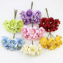 Huadodo 6 piezas 5 cm flores artificiales de seda Flor de ciruela para la guirnalda de DIY scrapbooking decoración de la boda flores falsas