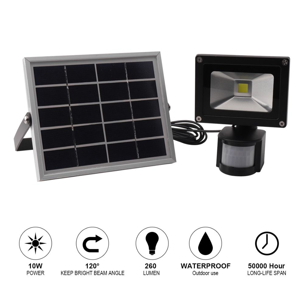BORUiT 10W 20W Waterproof Solar Spotlight SMD LED Floodlight PIR Motion Outdoor Path Garden Solar Light Built-in 2200mAh Battery