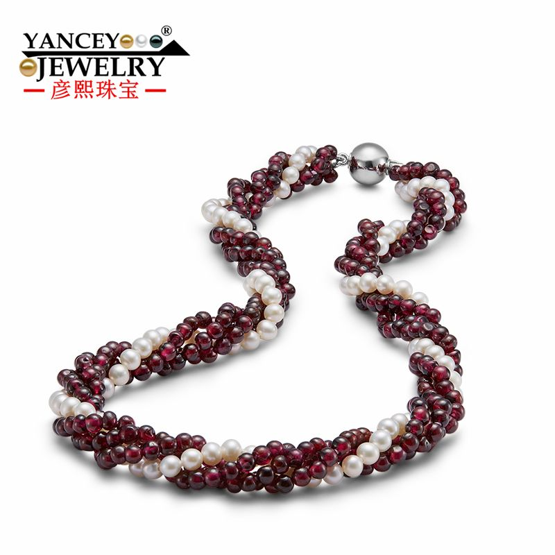 New natural 4-5mm white shaped bright light freshwater pearl necklace For Women, with Natural garnet multilayer S925 Silver