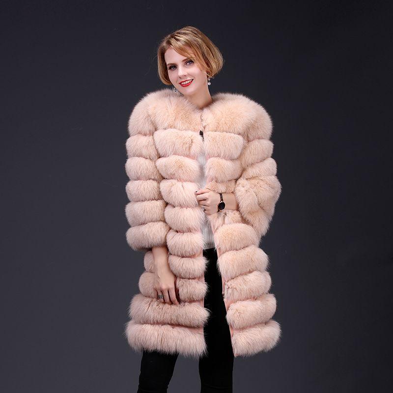 2018 echten fuchspelz mantel jacke abnehmbare sleeve bottom transforme lange warme high fashion frauen natürliche fell dick street style