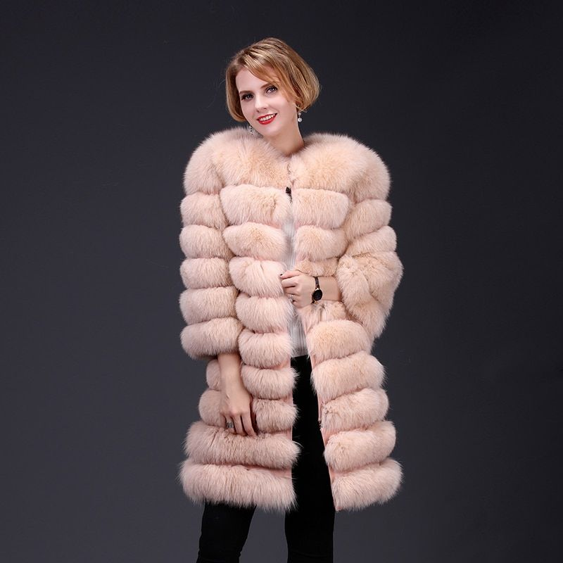 2018 real fox fur coat jacket detachable sleeve bottom transforme long warm high fashion women natural fur thick street style