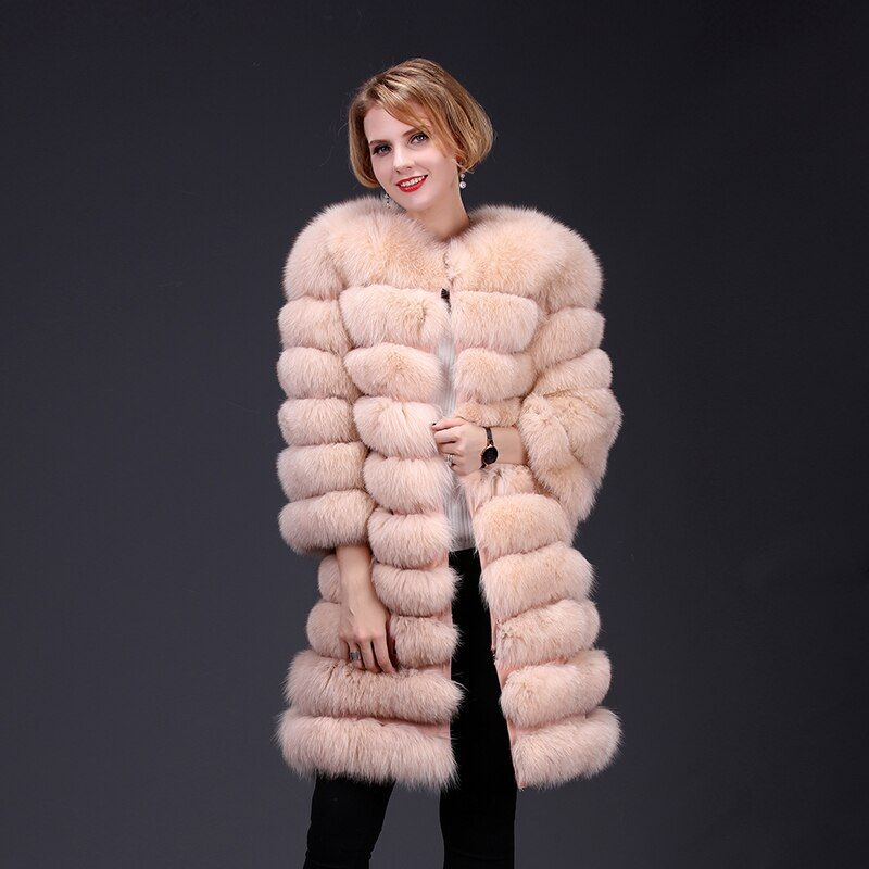 2019 echt fuchs pelz mantel jacke abnehmbare ärmel boden transforme lange warme high fashion frauen natürliche fell dick straße stil