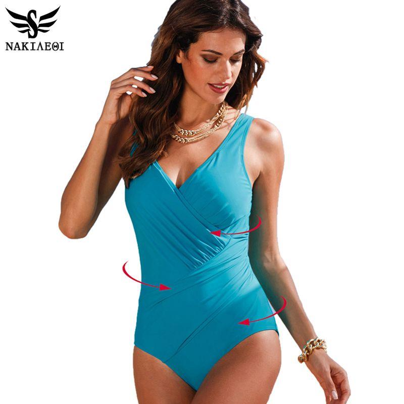 NAKIAEOI 2018 New One Piece Swimsuit Women Plus Size Swimwear Retro Vintage Bathing Suits Beachwear Print Swim Wear Monokini 4XL