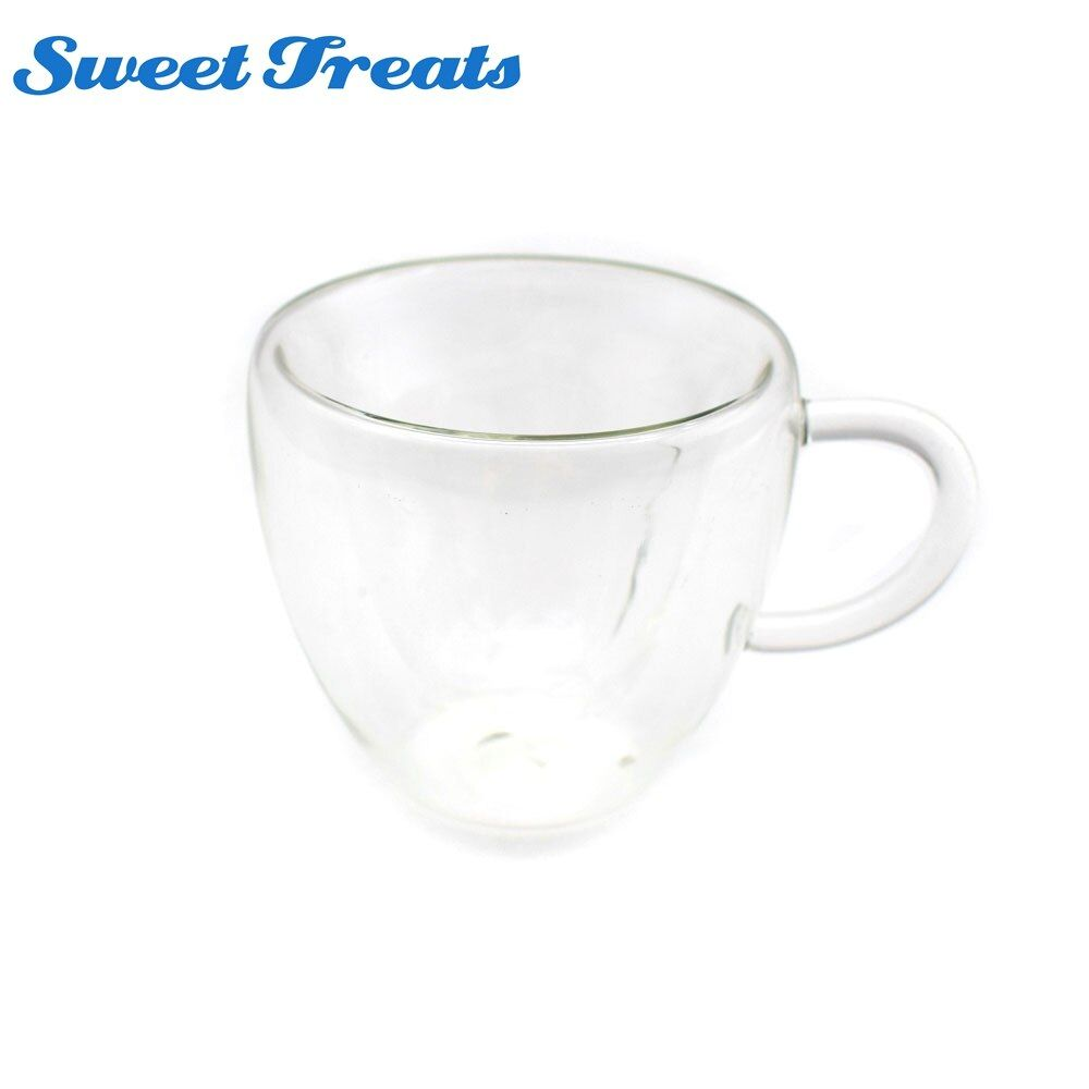 Sweettreats 240ml Heart Double Wall Layer Clear Transparent Glass Tea Cup Coffee Mug Gift
