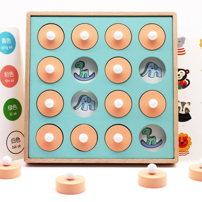 Candywood Kids Wooden Memory Match Chess Game Children Early Educational 3D Puzzles Family Party Casual Game Puzzles