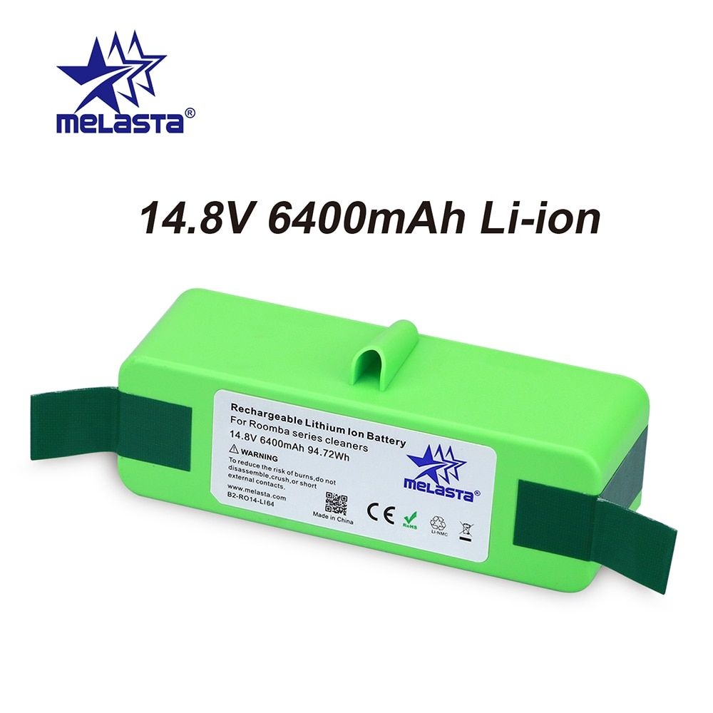 6.4Ah 14.8V Li-ion Battery with Brand Cells for iRobot Roomba 500 600 700 800 Series 510 530 550 560 620 650 770 780 790 870 880