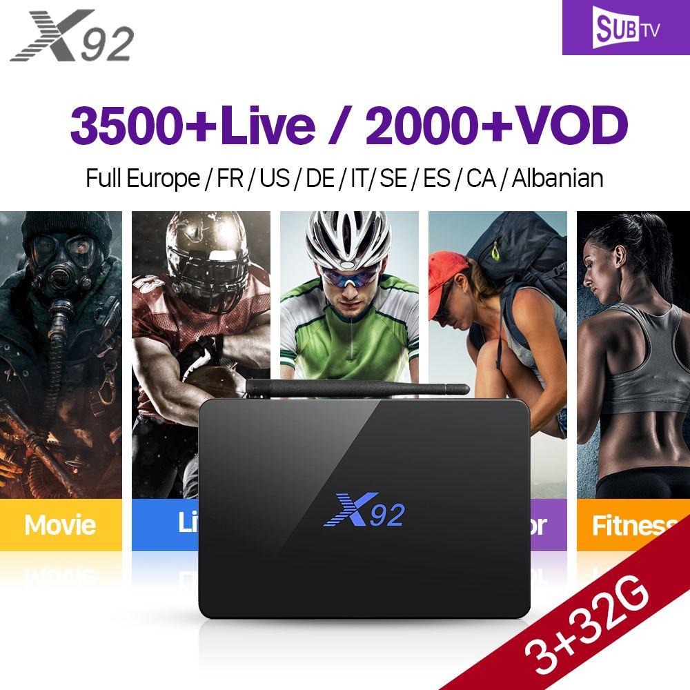 X92 Full HD IP TV Français Canada 3G + 32G S912 Android IPTV boîte 7.1 IPTV Arabe Français Sport IPTV Abonnement 1 An Français VOD