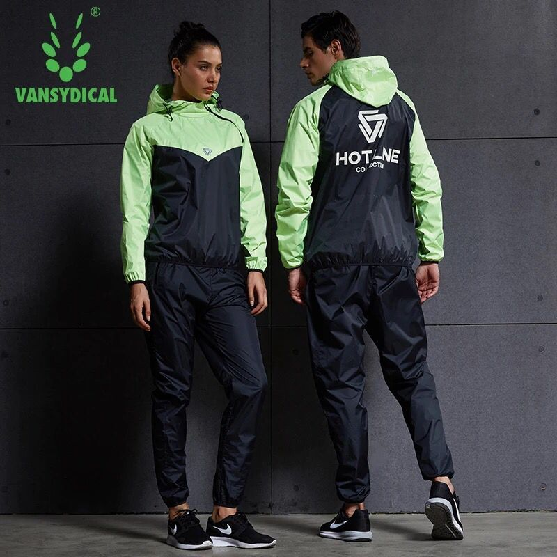 Hot Sweat Fitness Sport Suit Long Sleeve Hoodies+Pants 2PCS Gym Training Tracksuits Jogging Yoga Men Women Running Set Plus Size