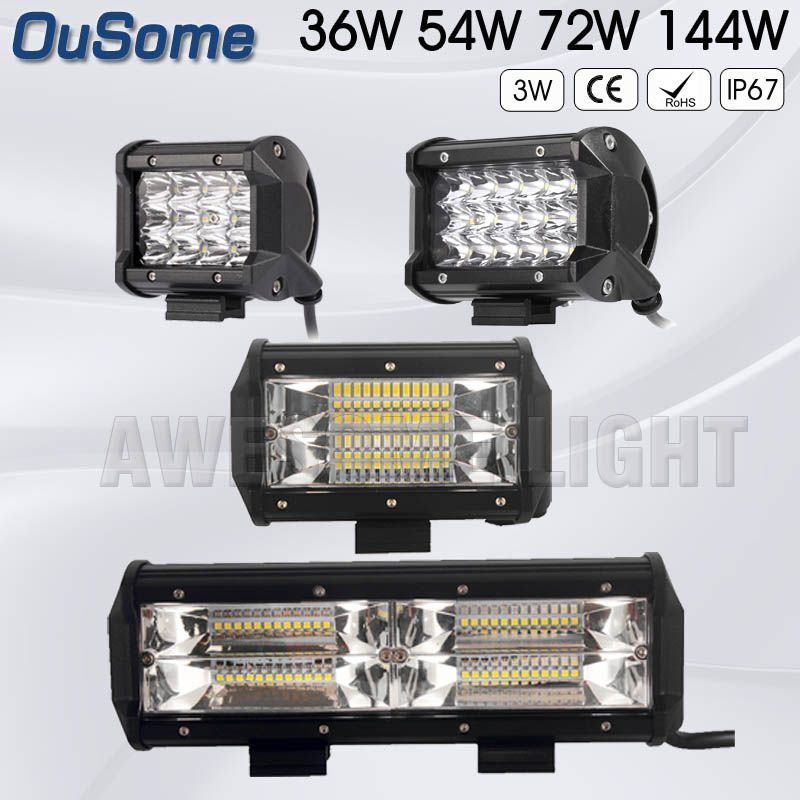 OuSome No tax 2 PIECES  4 inch 36W 5 inch 54W 5.5 inch 72W 8.5 inch 144W truck auto car tractor offroad 12v led work light