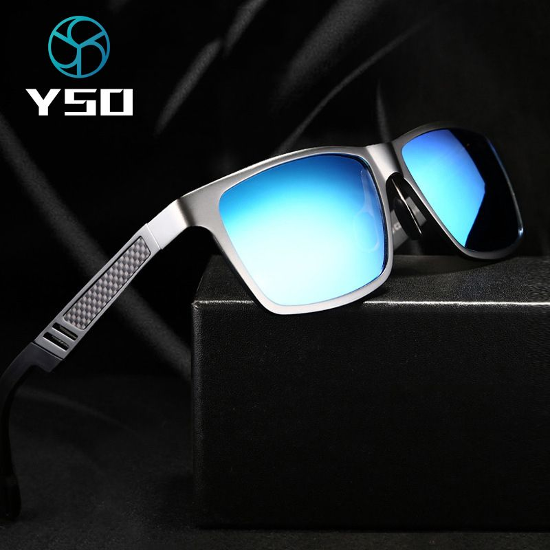 YSO Sunglasses Men Polarized Aluminum Magnesium Frame Sun Glasses Driving Glasses Square Goggle Eyewear Accessories For Men 6560