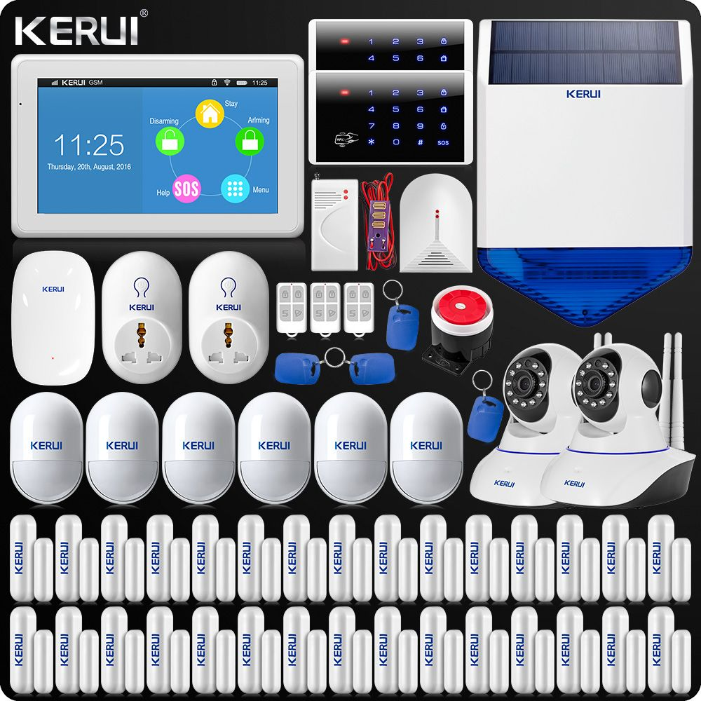 Neue Ankunft KERUI Touch-Screen 7 Zoll TFT Farbe Display WIFI GSM Alarmanlage Hause Alarmanlage + Dual antenne Wifi IP Kamera