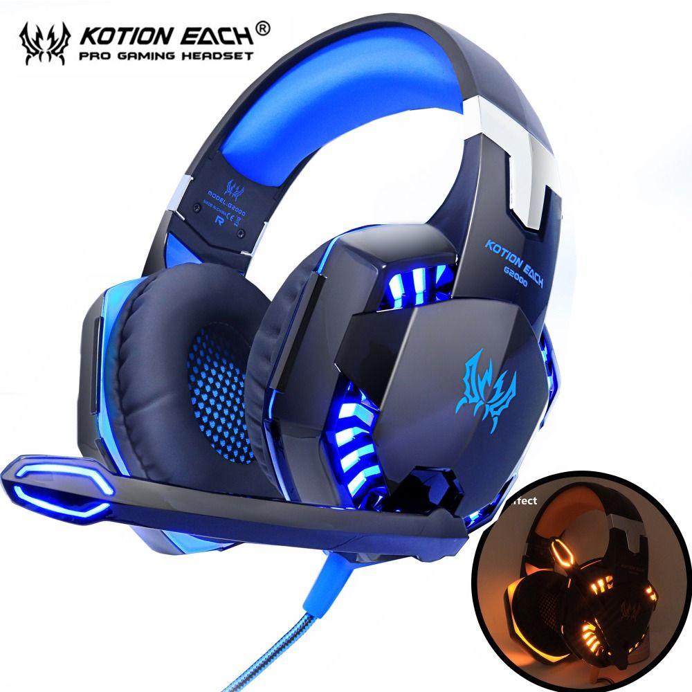 KOTION CHAQUE casques de jeu Deep Bass Stéréo filaire gamer Écouteur Microphone avec rétro-éclairé pour PS4 téléphone PC Ordinateur Portable