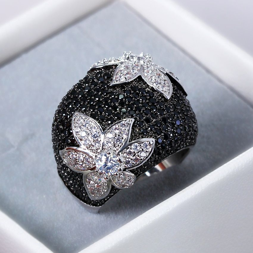 2018 New Flower rings for women Gold-color Black rings Made with aaa Cubic <font><b>Zirconia</b></font> Pave Setting Contrast Fashion Ring cocktail