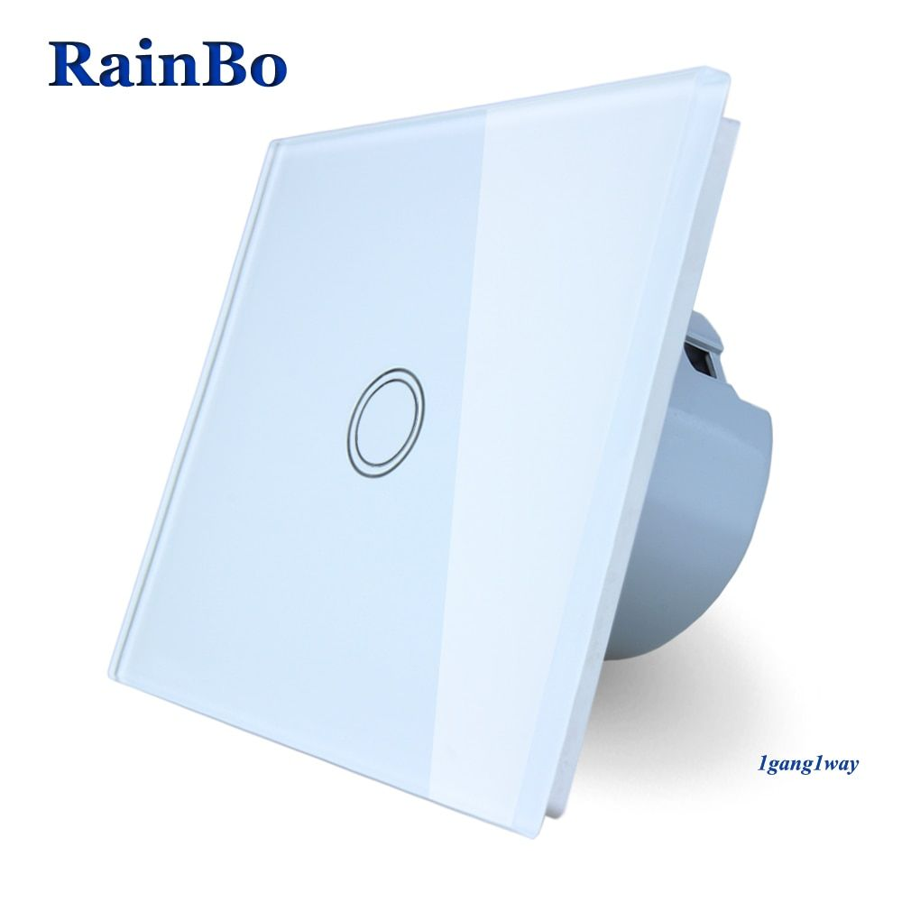 RainBo Touch Switch Screen Crystal Glass Panel Switch EU Wall Switch AC110~250V Light Switch 1gang1way for LED Lamp A1911XW/B