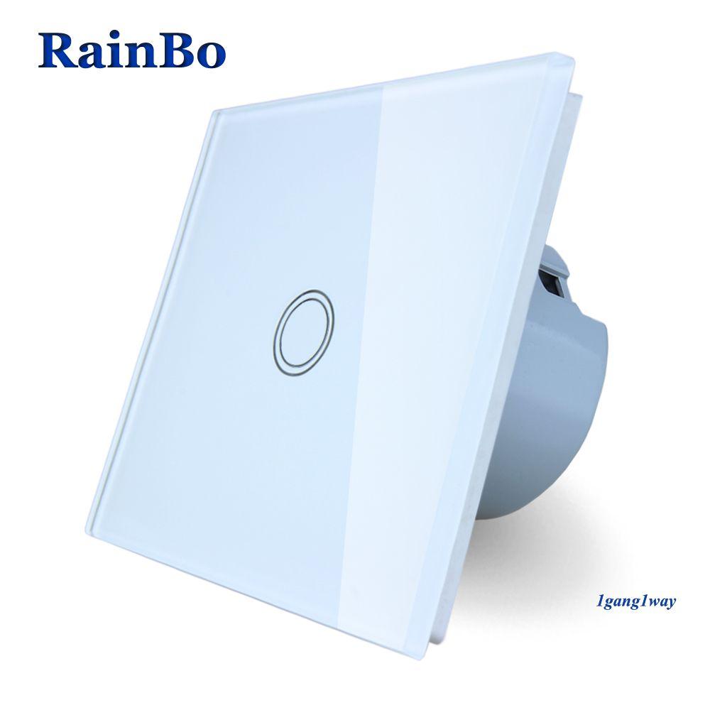 RainBo Tactile Commutateur Écran Panneau Verre Cristal Switch UE Interrupteur Mural AC110 ~ 250 v Interrupteur 1gang1way pour LED lampe A1911XW/B