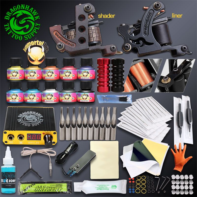 Professionnel Kits Complets De Tatouage Ensemble Tatouage Machine Alimentation 2 guns Immortel Couleur Encres De Tatouage Fournitures