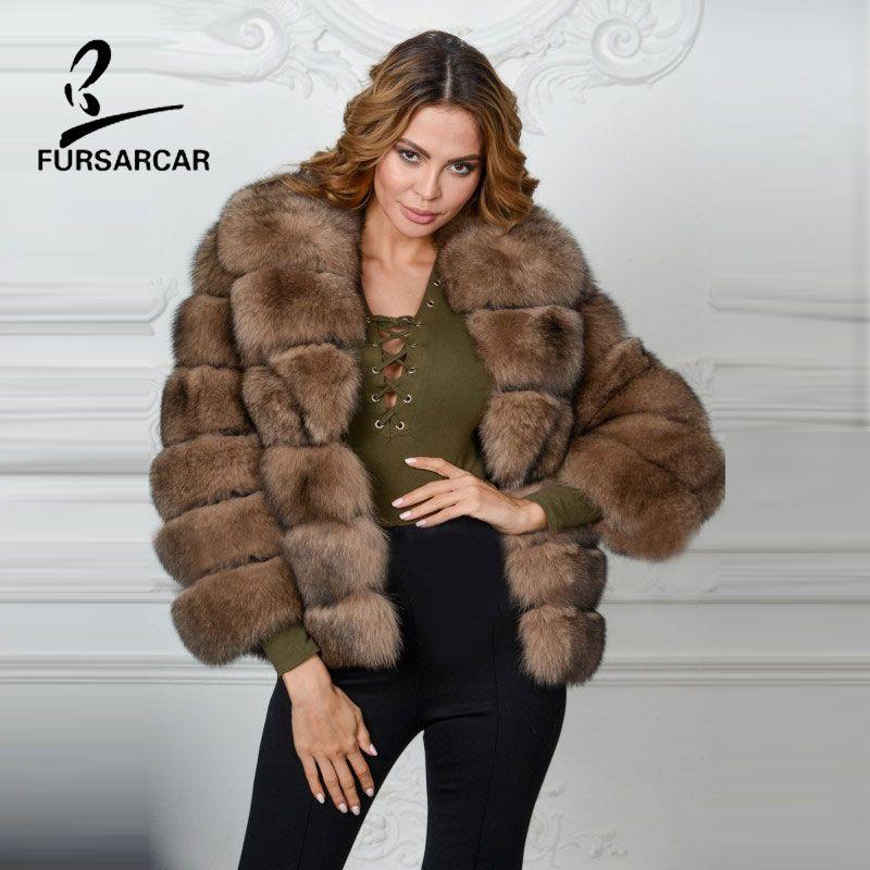 FURSARCAR Neue Stil frauen Winter Echtfuchspelz Gestreiften Sable farbe Mode Mäntel Natürliche Echten Fuchspelz Große Pelzkragen mantel