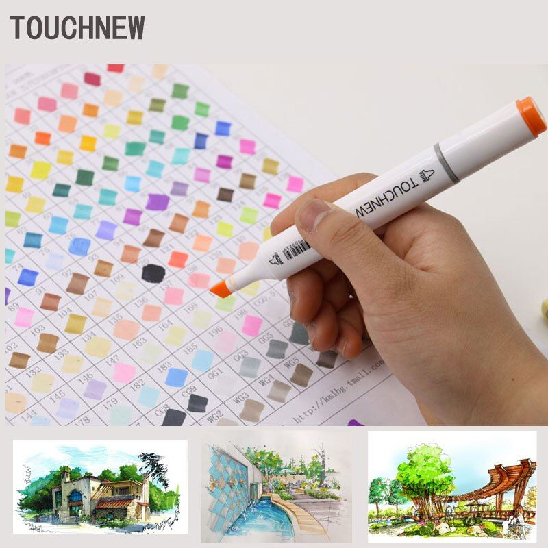Touchnew 168 Colors Art Marker artistic sketch markers Double Tips alcohol based  Professional Drawing Painting