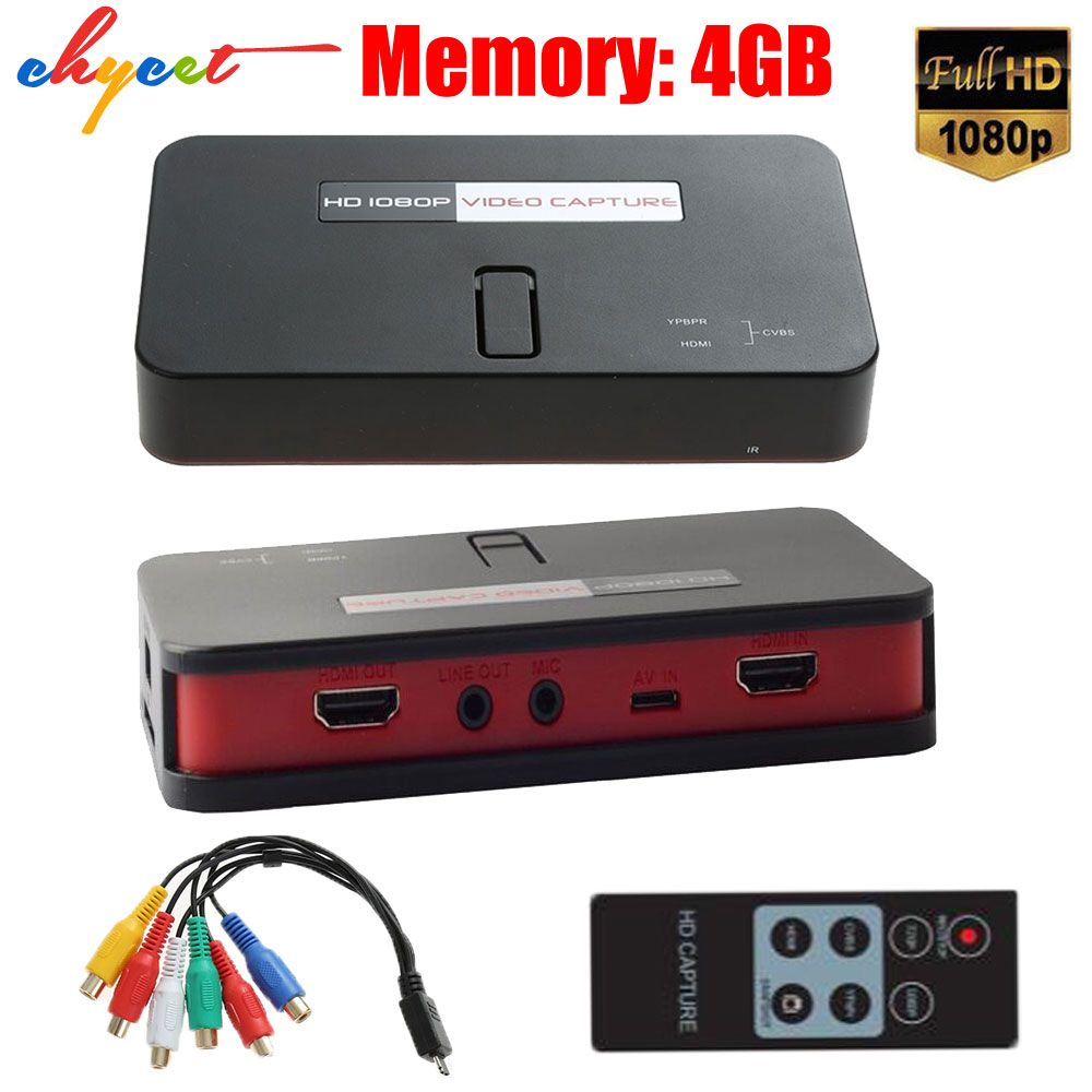 EZcap284 HD Game Capture 1080P HDMI /AV/Ypbpr Video Capture Recorder Box into USB Disk SD Card For Xbox360/One PS3/4