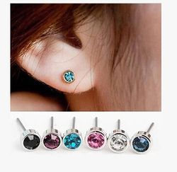 ea548 4mm 2018 New listing Fashion Silver Simple Shiny little Crystal Stud Earrings Christmas gift 1 pair