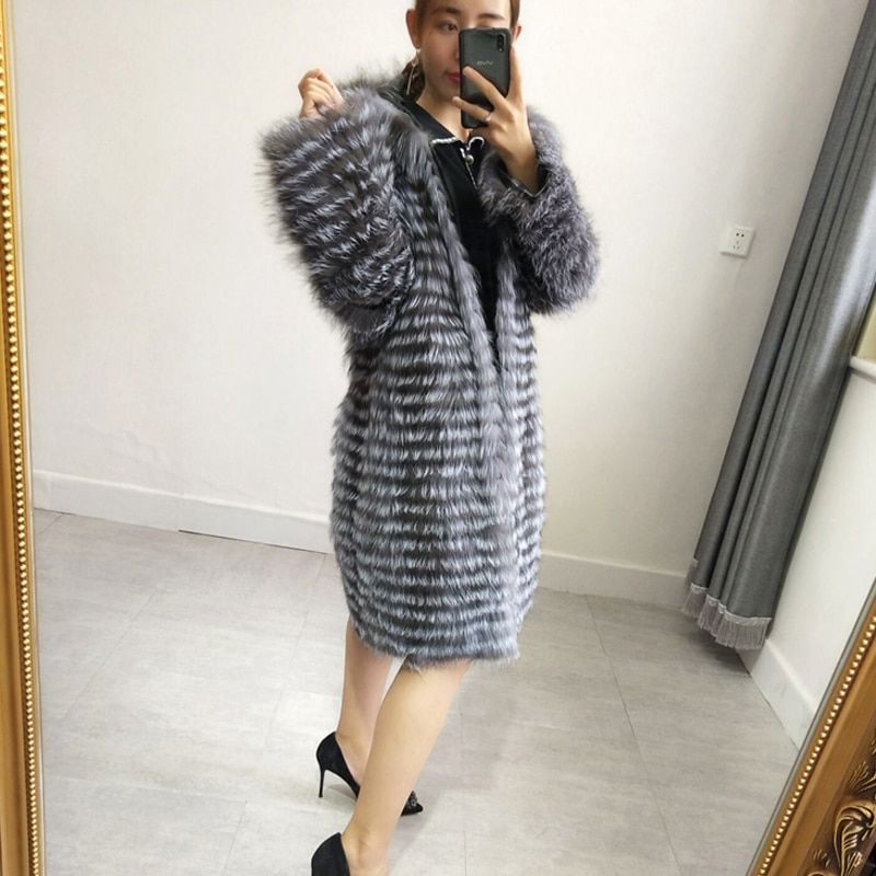 For Women Present silver fox Fur Coats & Down Jackets Trendy Fur Jacket Style Coats For Women Hooded Fox Fur Garment Outerw