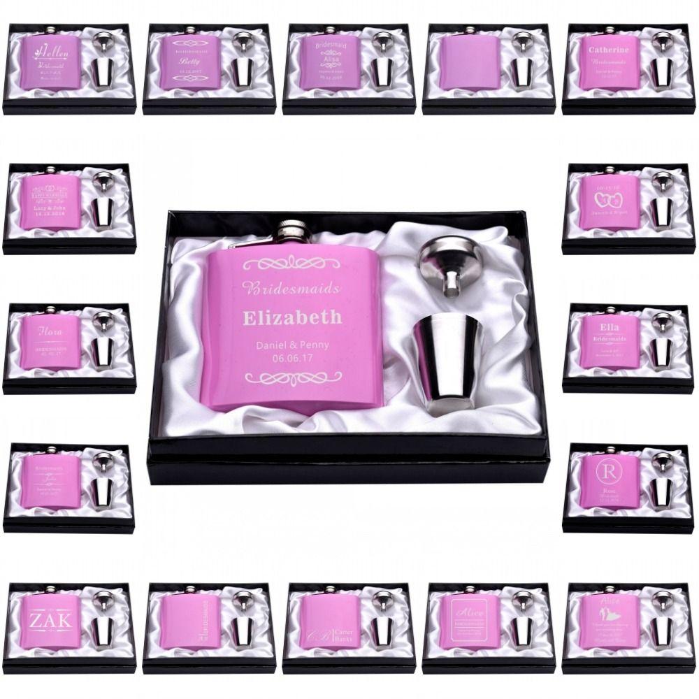 Personnalisé Gravé 6 oz Set Hip Flask Entonnoir En Acier Inoxydable Cadeau boîte + 2 Tasses Mariée Marié Meilleur Homme Usher De Mariage Décor faveur