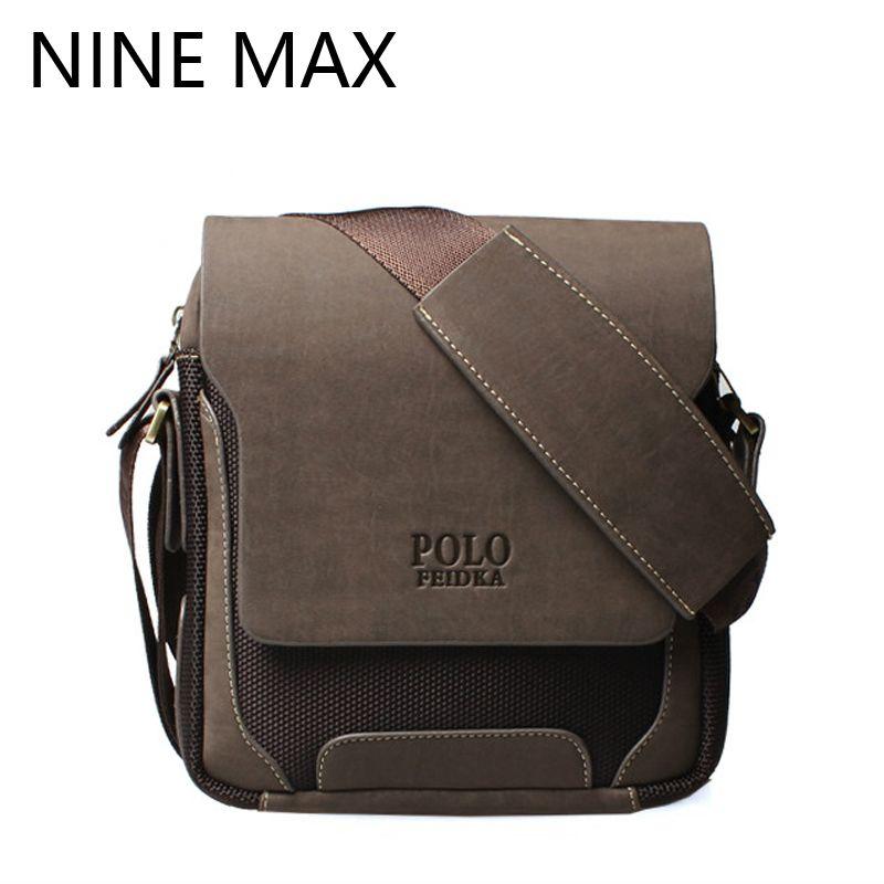 Men Polo Brand High Quality Crossbody Messenger Bag Luxury Retro PU Leather Shoulder Bags Fashion Simple Casual Durable Satchel