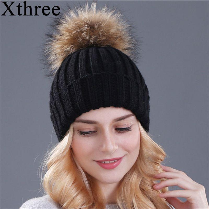 Xthree vison et renard fourrure boule cap pom poms hiver chapeau pour femmes fille chapeau tricoté bonnets casquette tout nouveau épais femme casquette