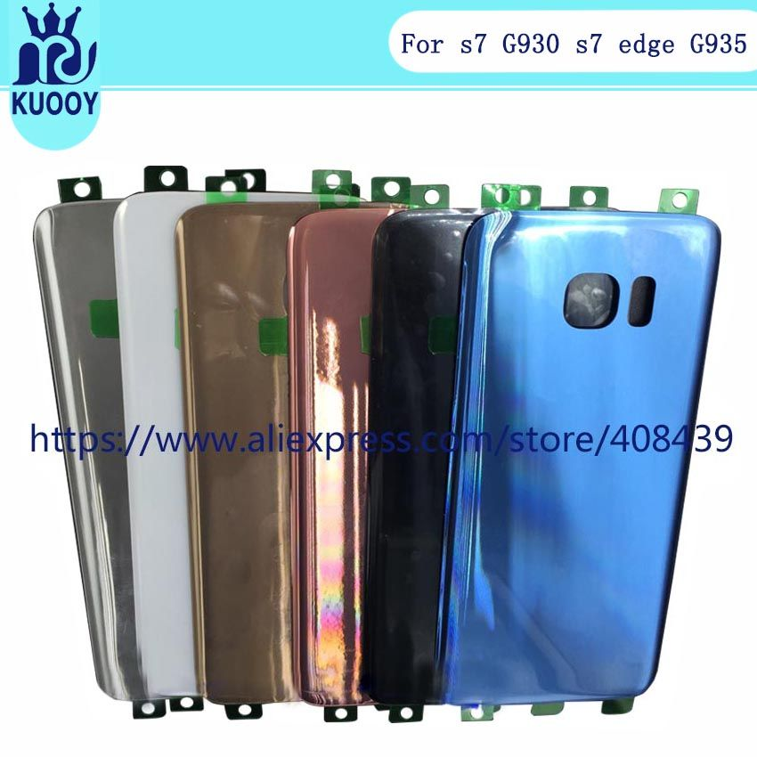 OEM S7 S7 Edge Battery Cover For Samsung Galaxy G930 G935 Back cover Battery Case Housing With Sticker