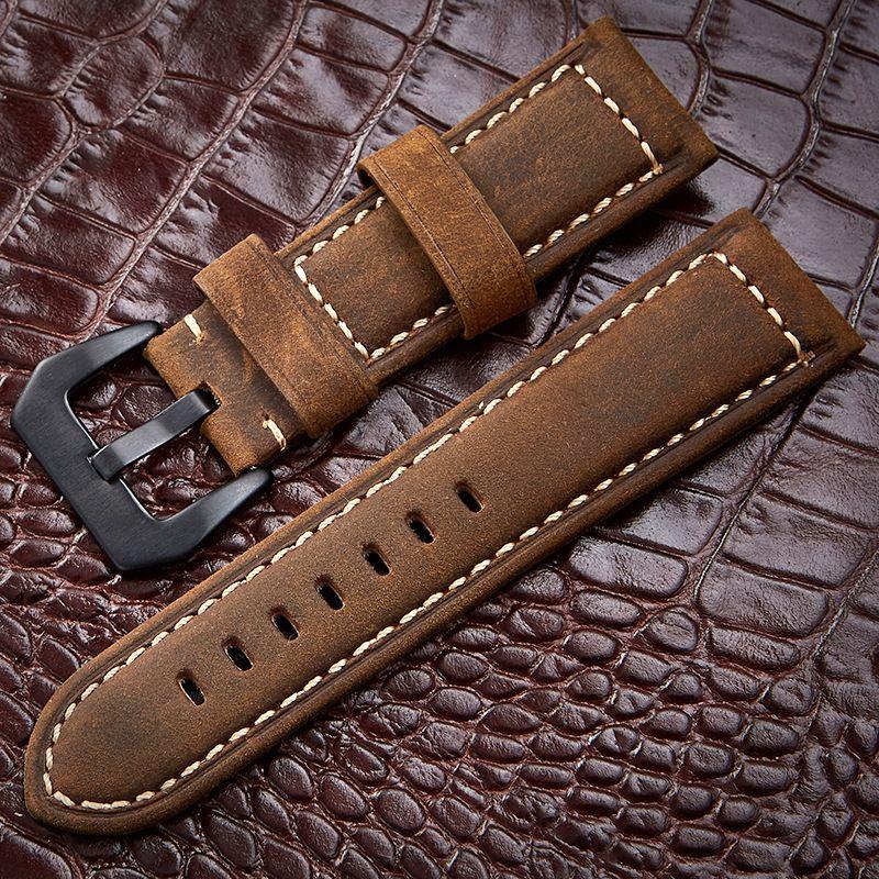 Accessoires de montre 4 couleurs faits à la main Vintage véritable cheval fou en cuir 20mm 22mm 24mm 26mm bracelet de montre bracelet et bracelet de montre