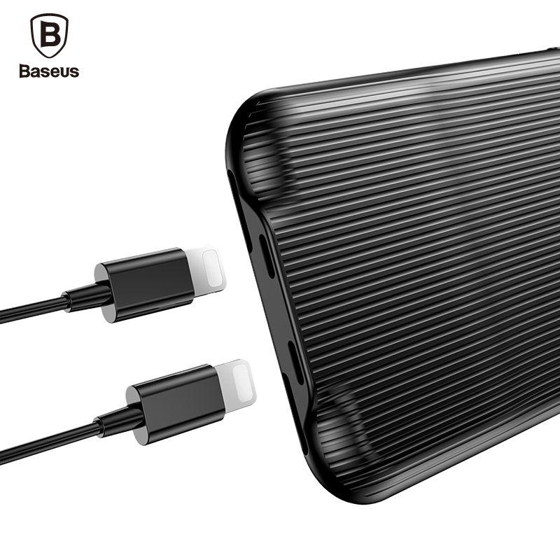 Baseus Audio Cas Pour iPhone 8 7 Plus Écouteur Casque adaptateur Répartiteurs Aux Cas de Couverture Arrière de Musique de Soutien Appel De Charge données