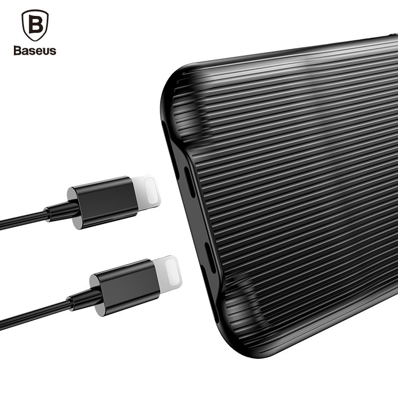 Baseus Audio Case For iPhone 8 7 Plus Earphone Headphone Adapter Splitters Aux Back Cover Case Support Music Call Charging Data