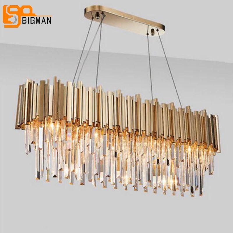 new luxury crystal chandelier modern lighting for living room dinning room gold kristallen kroonluchter LED lights