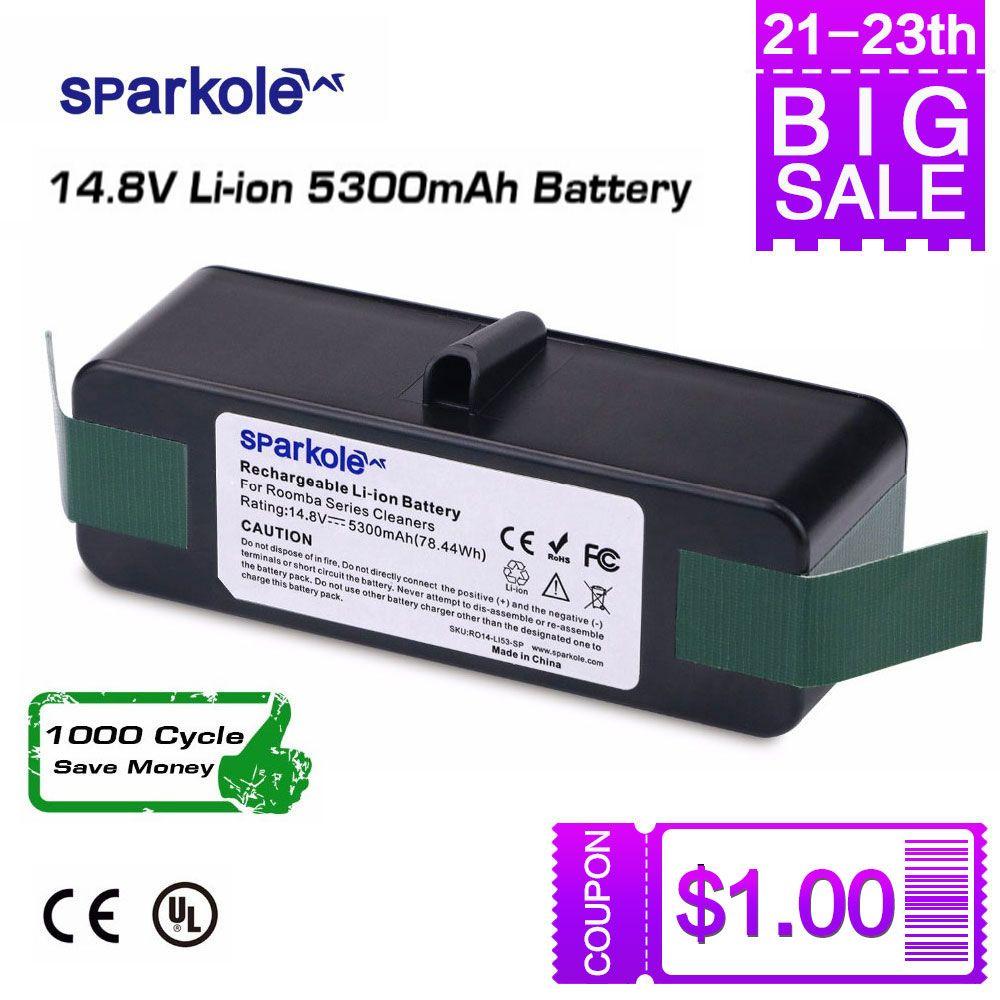 Sparkole 5.3Ah 14.8V Li-ion Batterie pour iRobot Roomba 500 600 700 800 Série 510 531 550 560 580 620 630 650 760 770 780 870 880