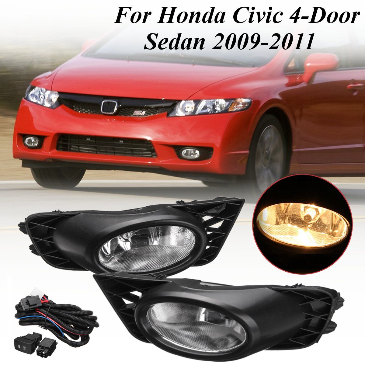 1 Pair H11 Bumper Grille Driving Led Fog Lights w/ Harness Replacements for Honda for Civic 4Door Sedan 2009 2010 2011 55WDC 12V