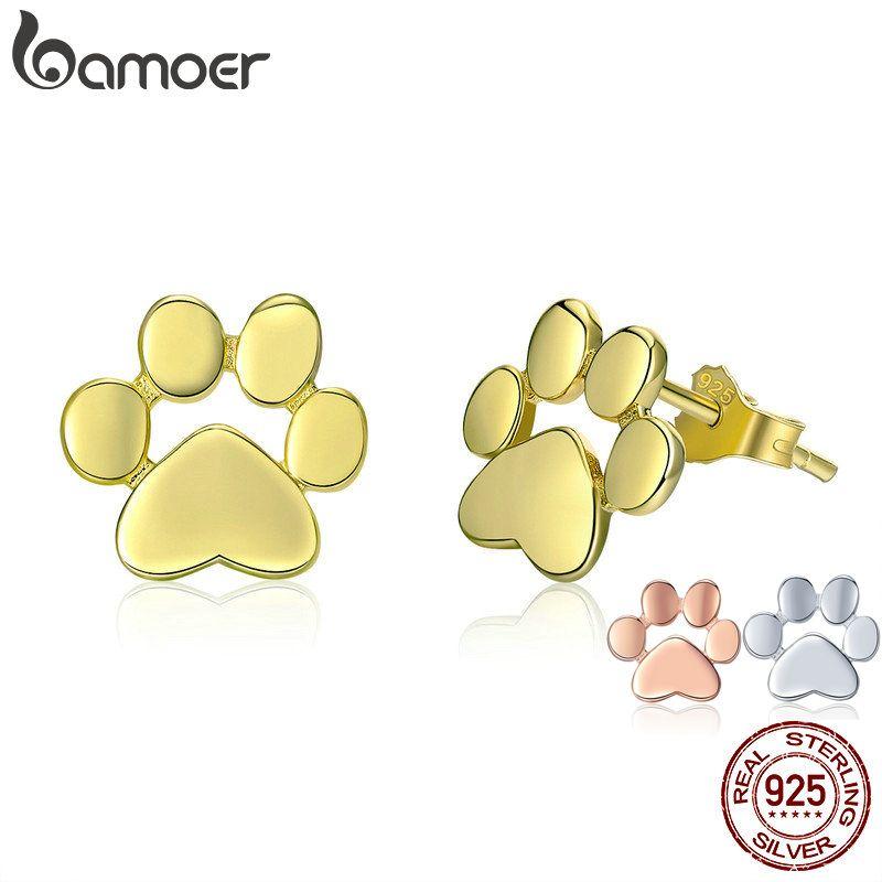 BAMOER Cat Earrrings 925 Sterling Silver Animal Dog Cat Footprints Stud Earrings for Women 3 Colors Gold Color Jewelry SCE407-4