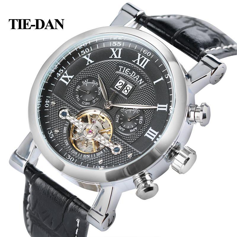 TIEDAN Men's <font><b>Tourbillon</b></font> Mechanical Watch Luxury Business Self-Winding Wristwatch Trendy Genuine Leather Fashion Date-Day Display