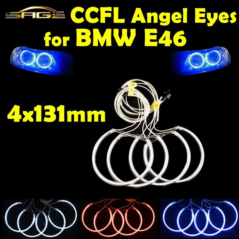 flytop 4 x 131mm CCFL Halo Rings Kit Angel Eyes Blue Red White Color Headlight Decoration for BMW E46 E39 E38 E36