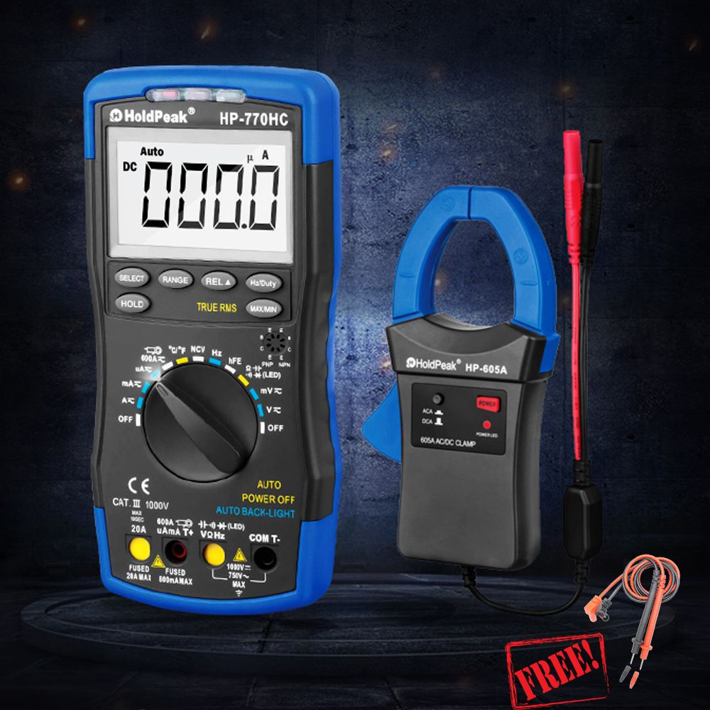HP-770HC HP-605A 1000V 600A Digital Multimeter Clamp Meter Multimetro True RMS NCV Feature Temperature Frequency Batter HP890CN