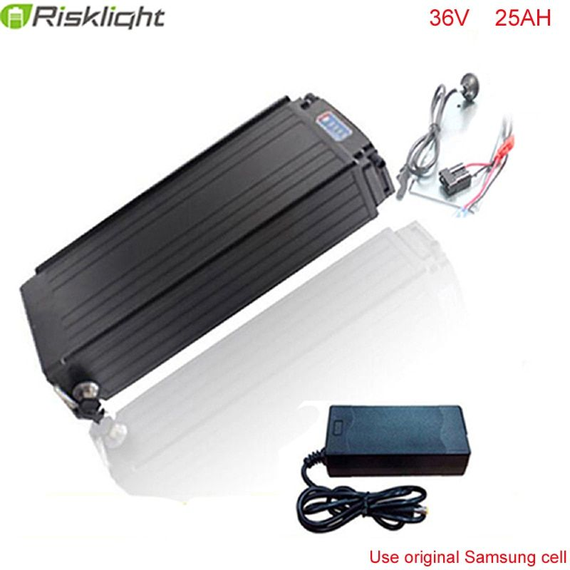 lithium battery rear rack 36v 25ah 1000w lithium ion battery for electric bicycle with Power lights Tail lights For Samsung cell