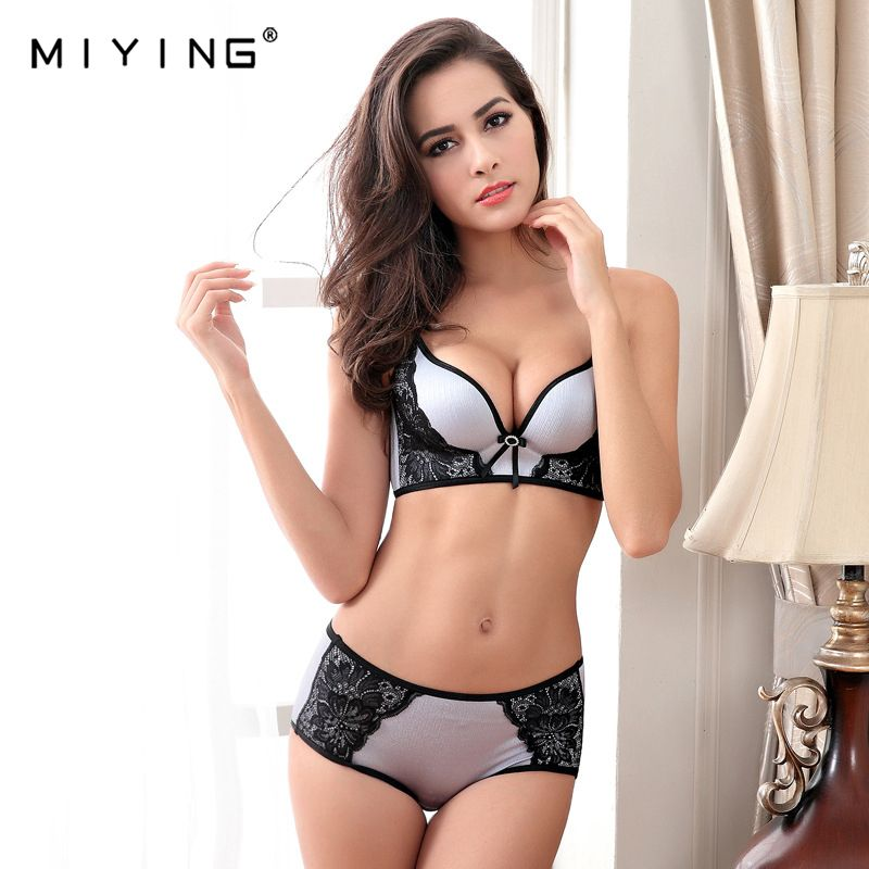 MIYING 2017 New Bra&Brief Sets V Shape Push Up Solid Sexy Embroidery VS Style Women's Underwear