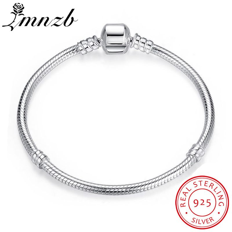 LMNZB 95% OFF BIG SALE Authentic 100% 925 Sterling Silver Snake Chain Bangle & Bracelet Luxury Jewelry 17-21CM Women Gift HB005