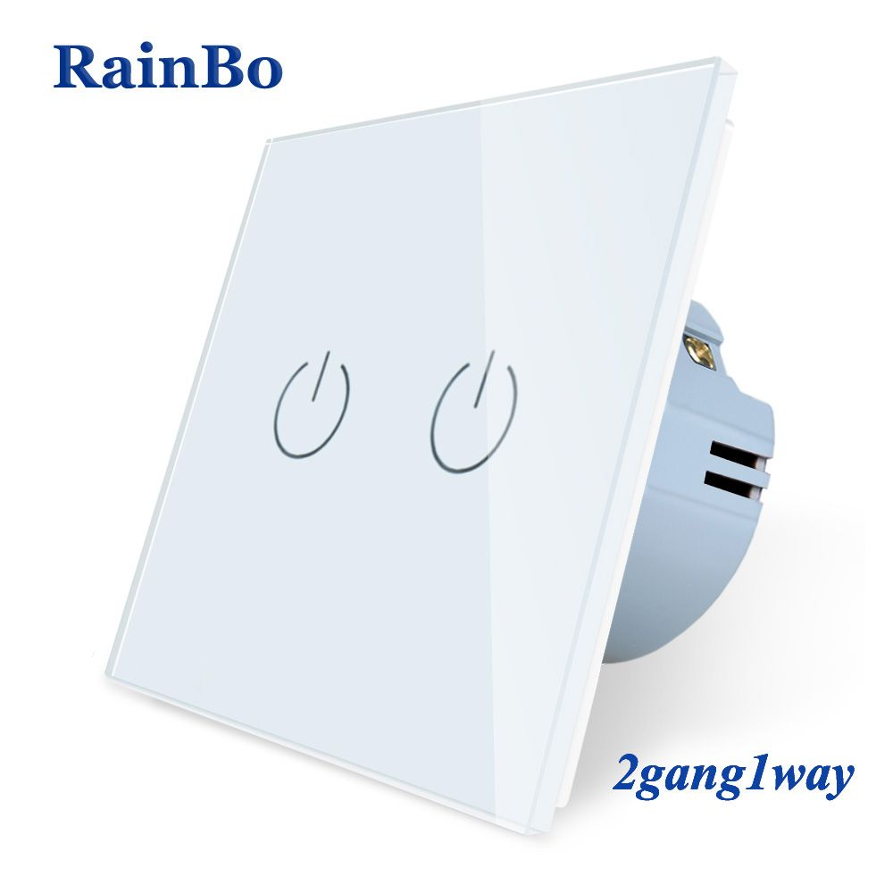 RainBo New-Crystal Glass-Panel wall-switch EU-Standard 110~250V Touch-Switch Screen-Wall Light-Switch 2gang-1way A1921CW/B